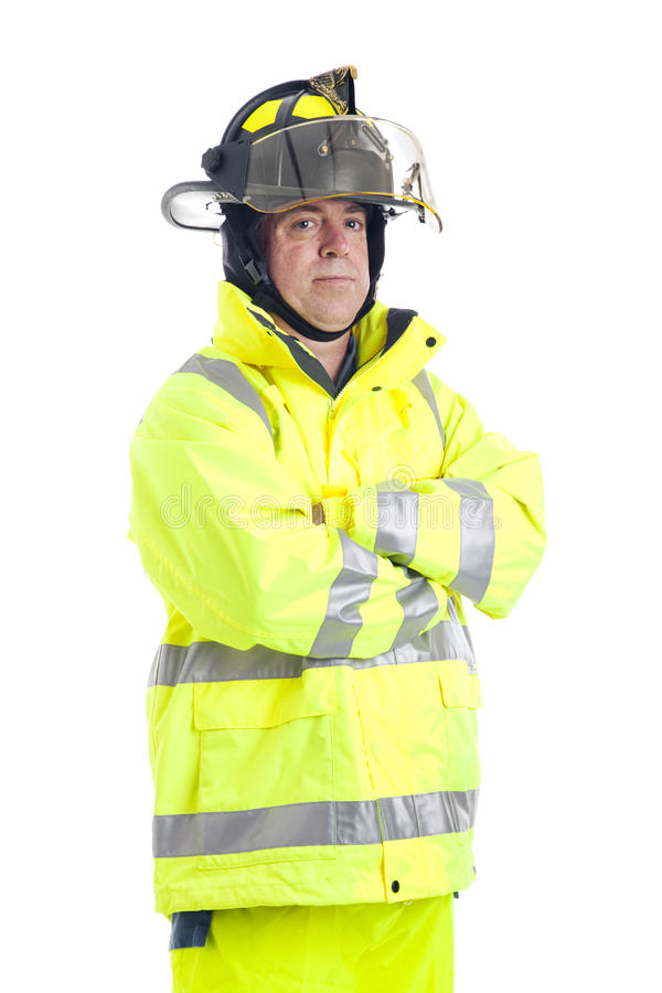 Download Portrait Of Serious Firefighter Stock Image - Image of caucasian, arms: 20022749