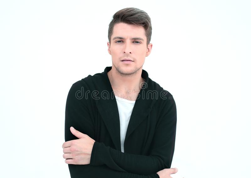 Portrait of a serious guy in a hoodie. stock photography