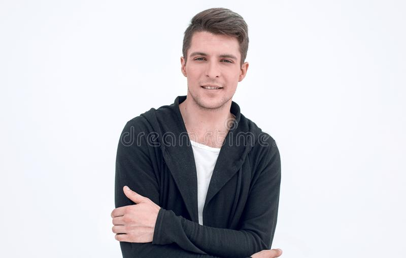 Portrait of a serious guy in a hoodie. stock image