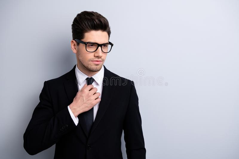 Portrait of serious handsome gorgeous guy lawyer ready for trial prepare feel concentrated focused true stylish leader. Leadership dressed in modern jackets stock images