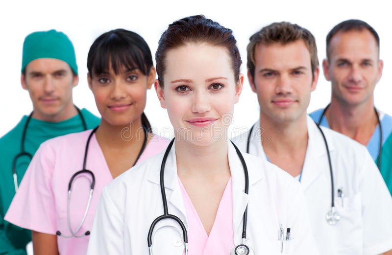 Portrait of a serious medical team royalty free stock image