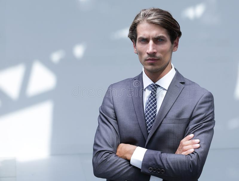 Portrait of serious modern businessman. royalty free stock images