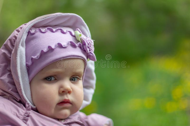 Portrait of a serious pensive eleven month old baby girl on a natural background royalty free stock photography