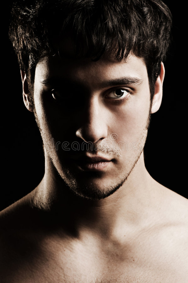 Portrait of serious unshaven man royalty free stock image