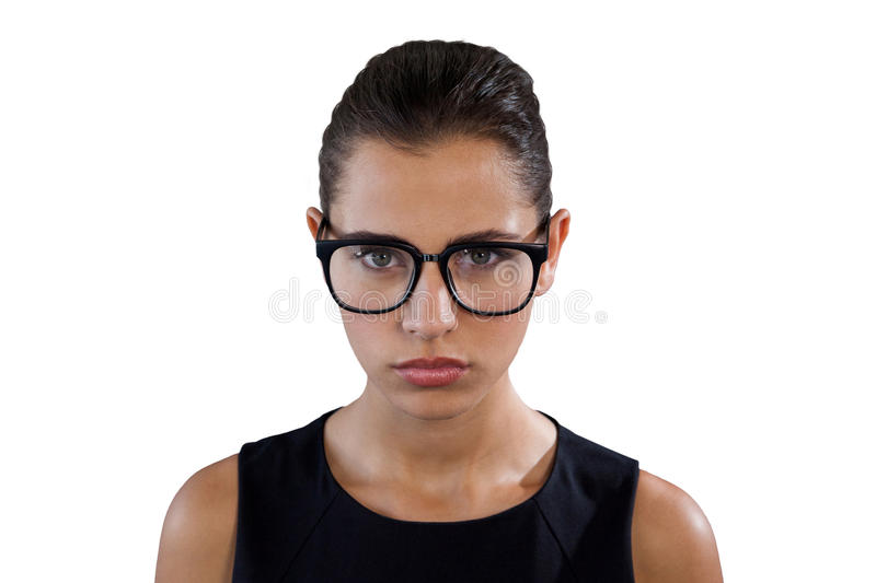 Portrait of serious young businesswoman wearing eyeglasses stock photography