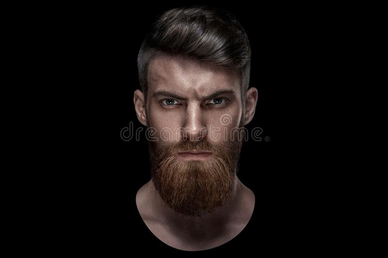 Portrait of single bearded handsome young caucasian man stock image