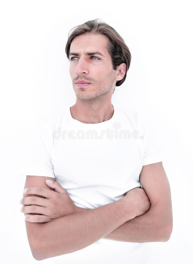 Portrait of a serious young man royalty free stock photo