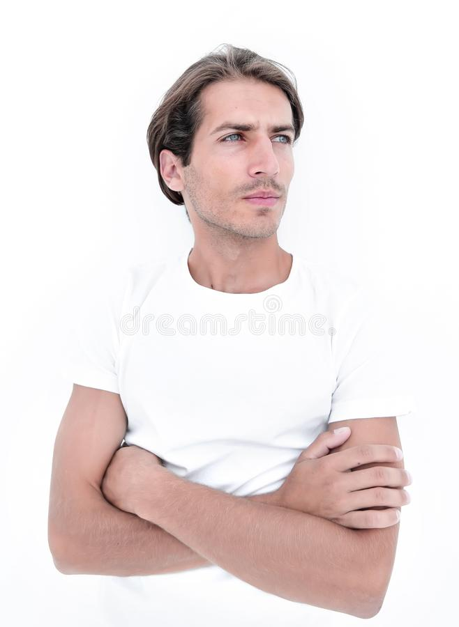 Portrait of a serious young man stock photos