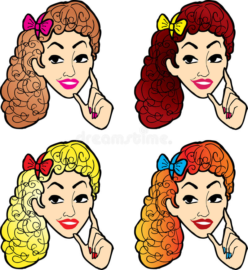 Download Portrait Set Of Pretty Girl Stock Vector - Illustration: 23873636