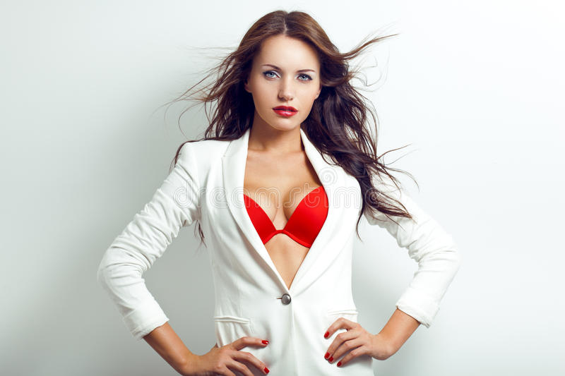 Portrait of sexual brunette woman stock photography