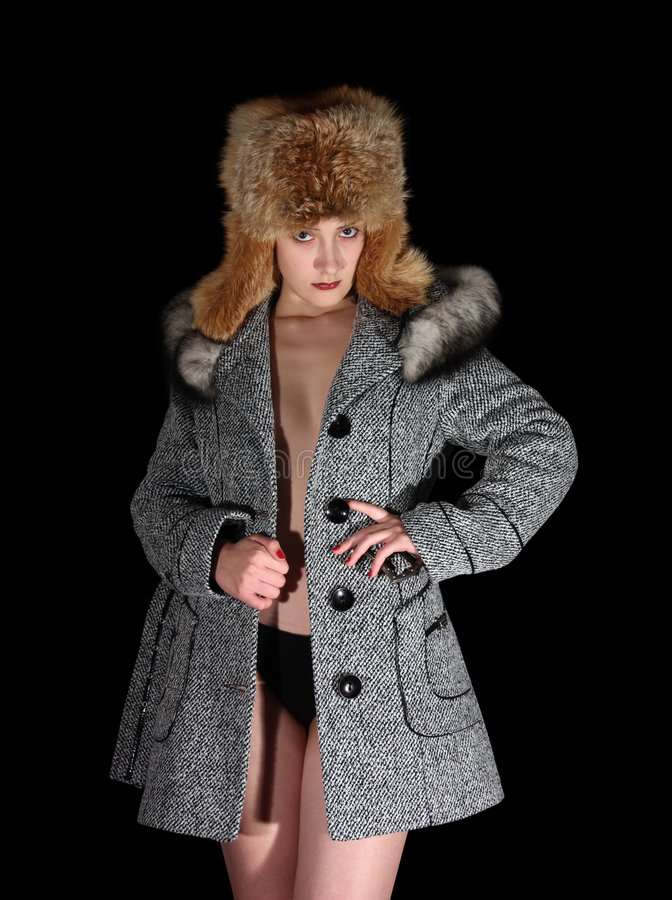 Download Portrait Of Sexual Girl In Gray Coat And Fur Hat Stock Image - Image: 7199283