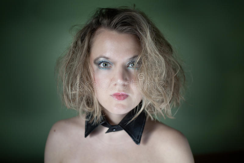 blonde with collar stock photo