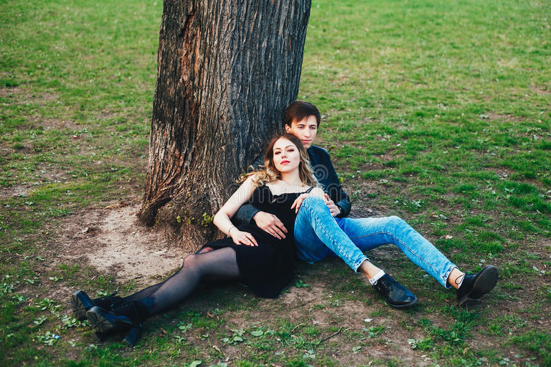 Portrait of couple outdoor. sexual young couple in love royalty free stock photos