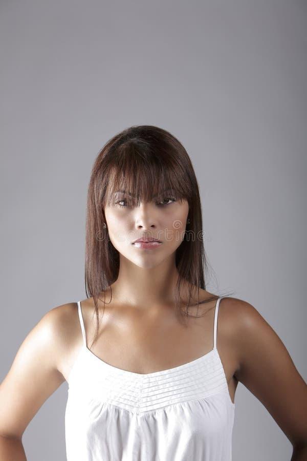 Download Portrait Hispanic Lady In White Stock Image - Image: 6316129