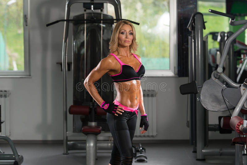 Portrait Of Mature Woman In Fitness Center stock images