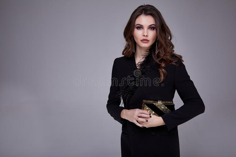 Portrait pretty beautiful woman fashion style clothes model royalty free stock photo