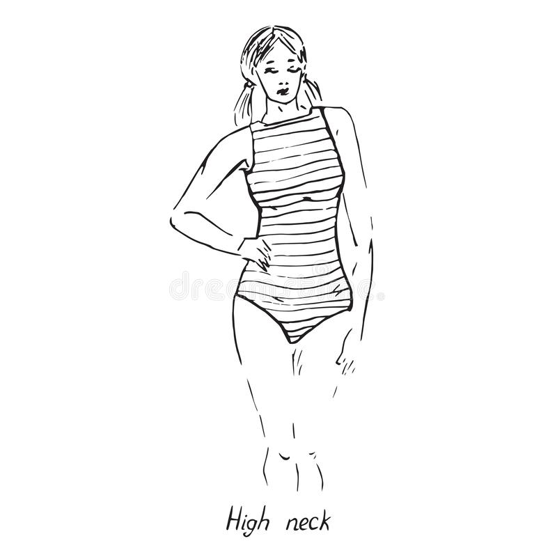 Portrait of sexy retro pin up girl in  striped high neck type of one piece swimsuit with inscription, hand drawn outline doodle, vector illustration
