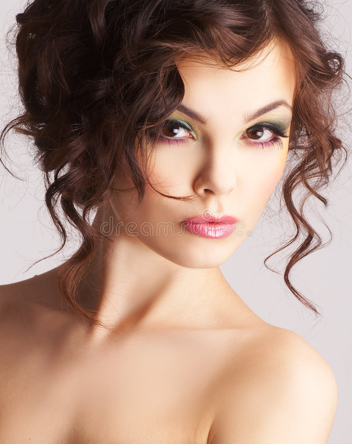 Portrait of woman with beautiful make-up stock photo