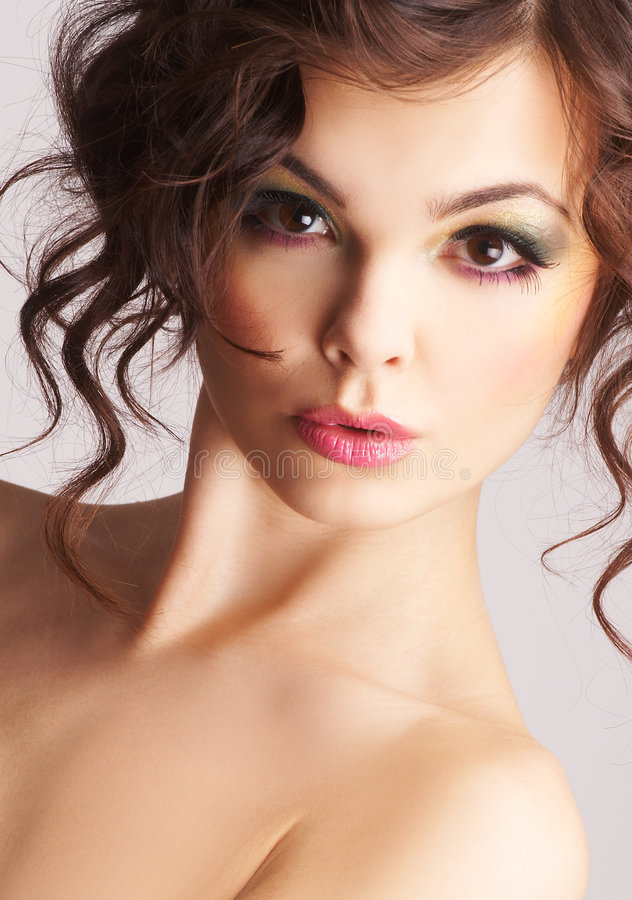 Portrait of woman with beautiful make-up royalty free stock photography