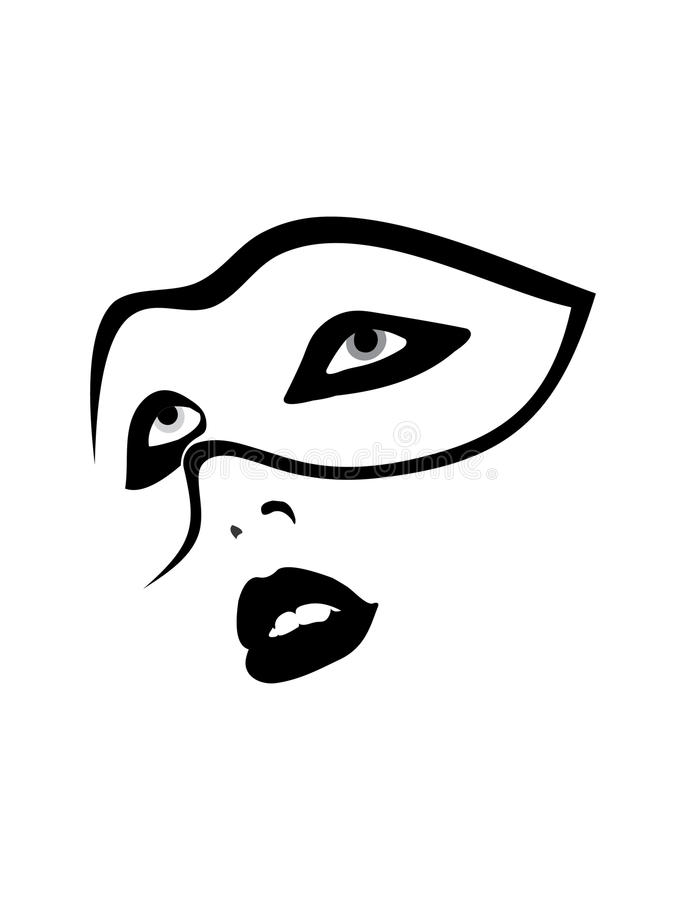 Portrait of woman in party mask vector illustration
