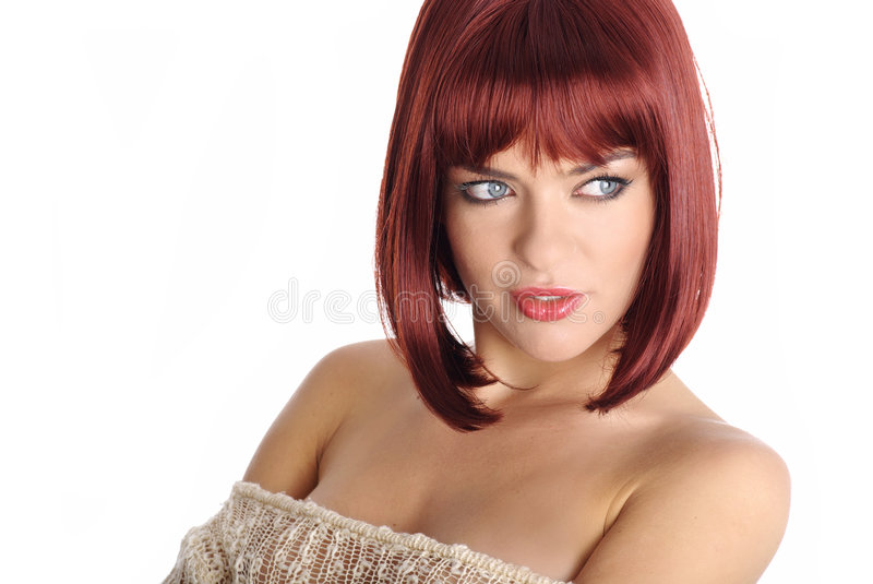 Portrait woman with red hair stock photo