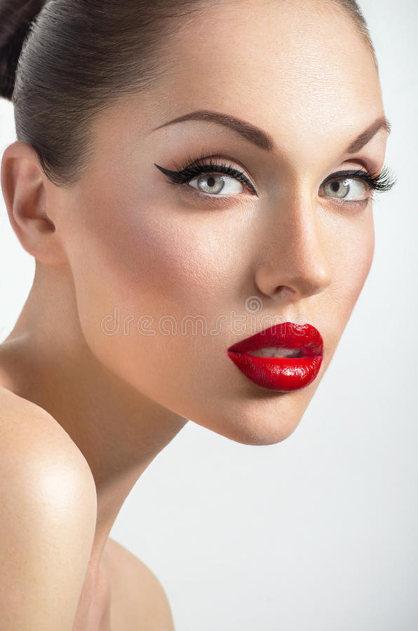 Portrait of woman with red lips. And perfect skin royalty free stock photos
