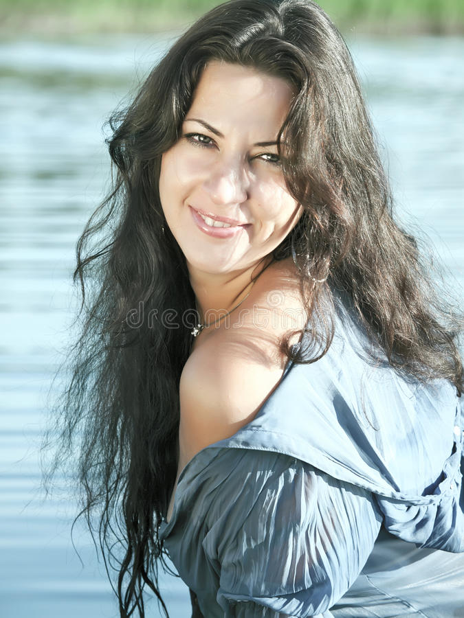Download Portrait Of Women At Water Background Stock Image - Image: 20628917