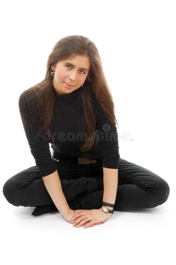 Portrait of a young woman in hat stock photography