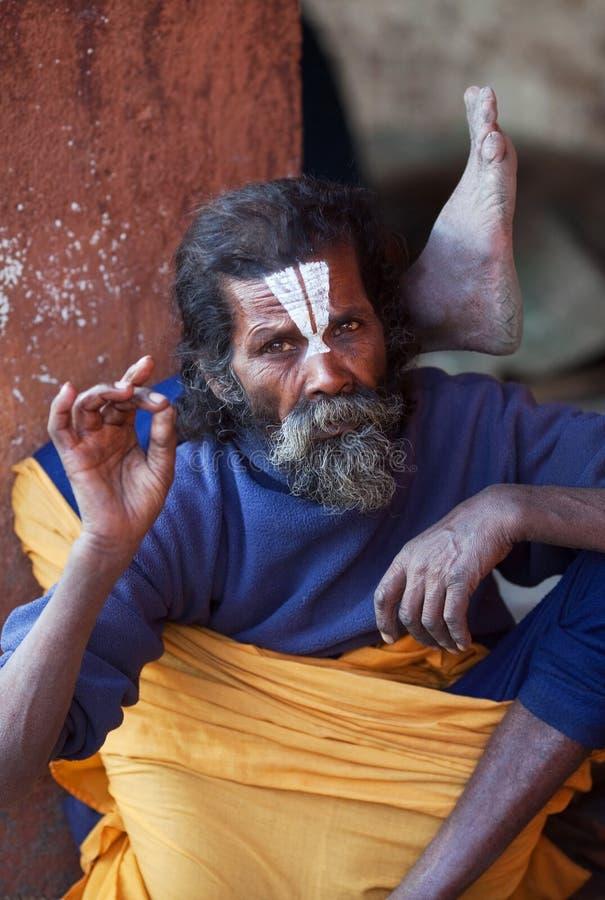 Portrait of shaiva sadhu (holy man) stock photos