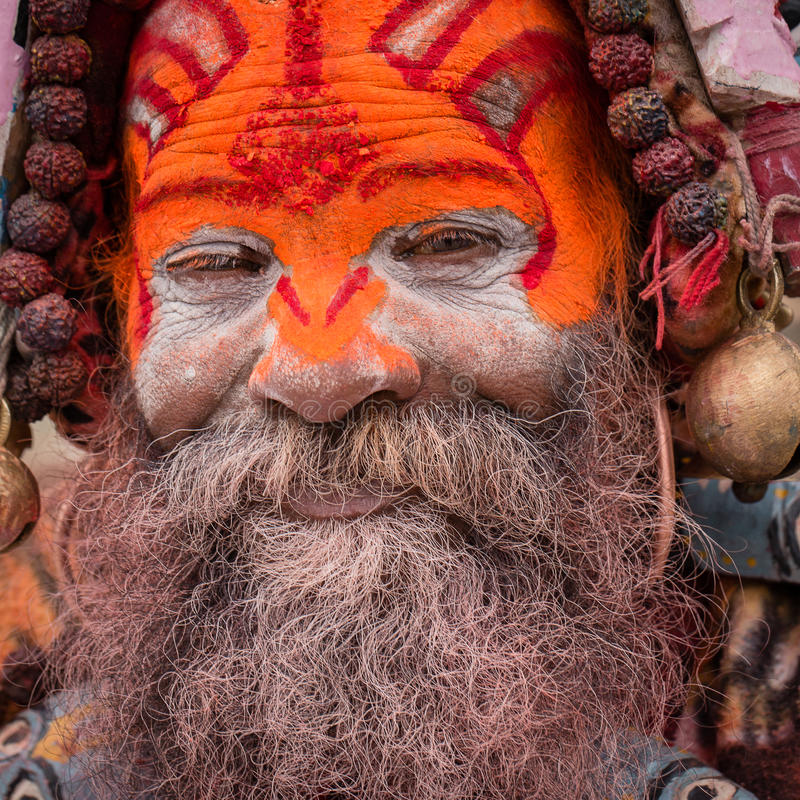 Portrait of Shaiva sadhu, holy man in Pashupatinath Temple, Kathmandu. Nepal stock images