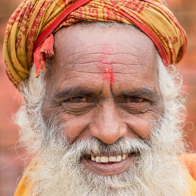 Portrait of Shaiva sadhu, holy man in Pashupatinath Temple, Kathmandu. Nepal royalty free stock photo