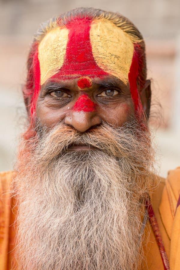 Portrait of Shaiva sadhu, holy man in Pashupatinath Temple, Kathmandu. Nepal royalty free stock photography