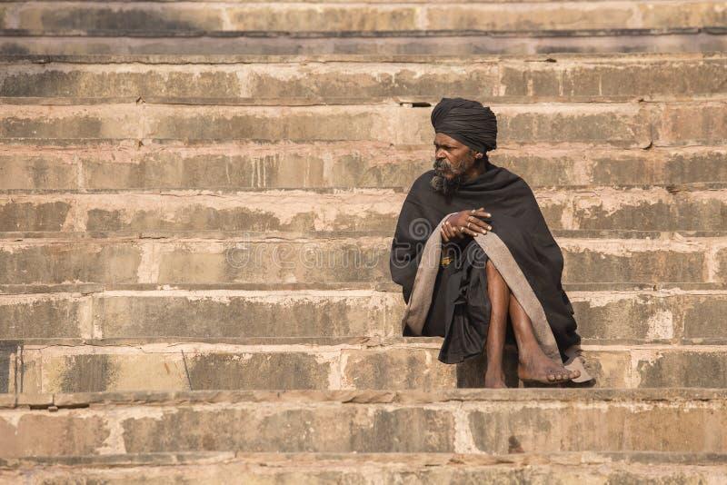 Portrait of Shaiva sadhu, holy man in Varanasi, India stock image