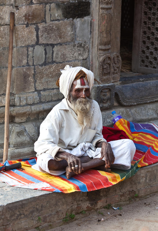 Portrait of shaiva sadhu from Kathmandu, Nepal royalty free stock photography