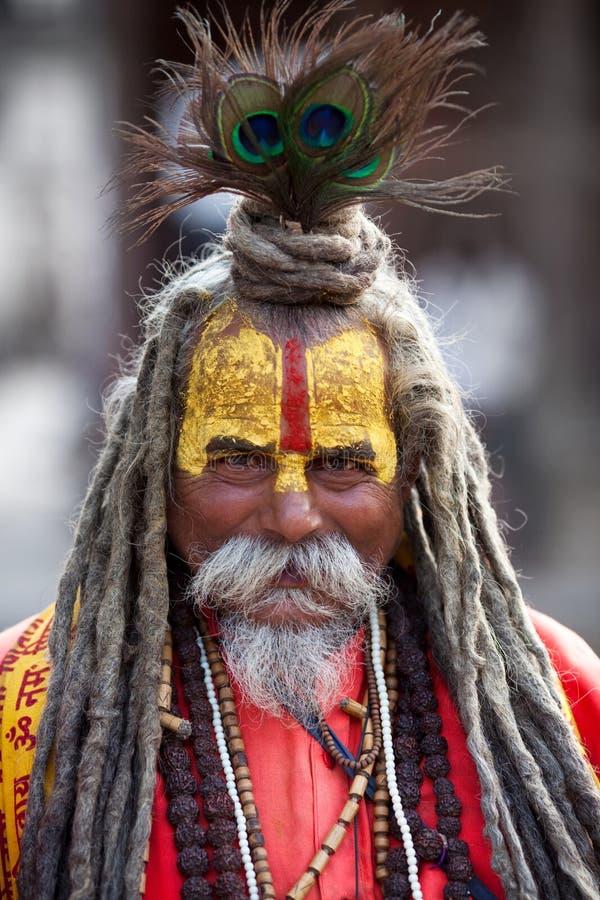 Portrait of shaiva sadhu from Kathmandu, Nepal royalty free stock photos