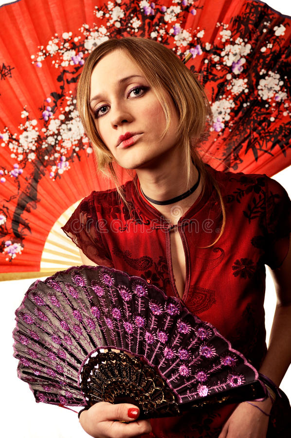 Portrait of sharming woman dressed in china style stock photo