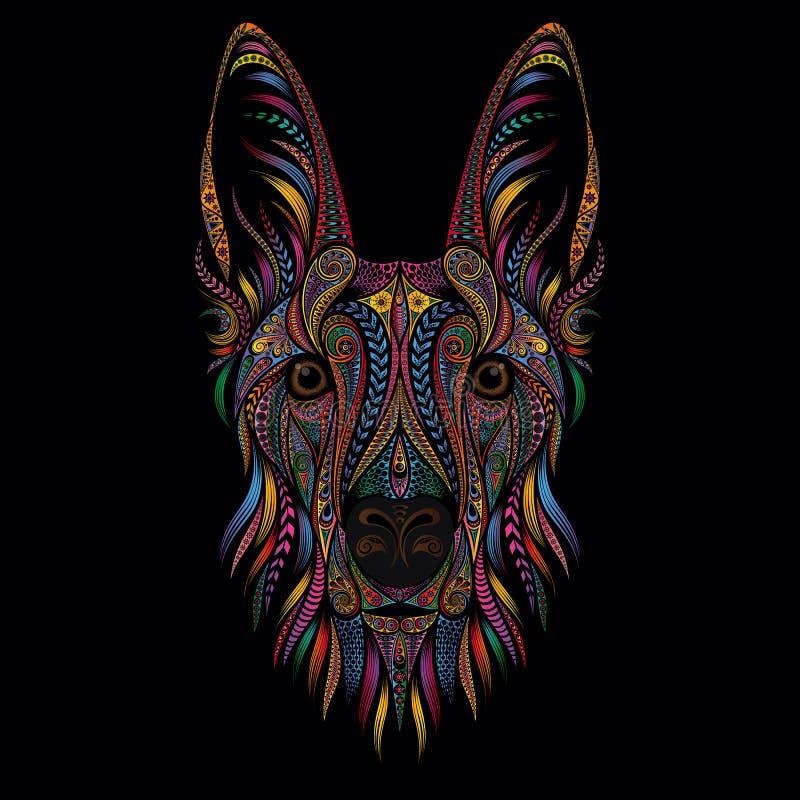 Portrait of a shepherd dog from color patterns on a black background. Vector illustration vector illustration