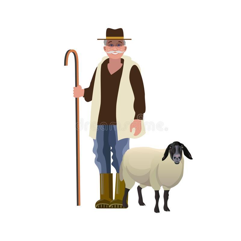 Shepherd with a sheep. Portrait of a shepherd with a sheep. Vector illustration isolated on white background royalty free illustration