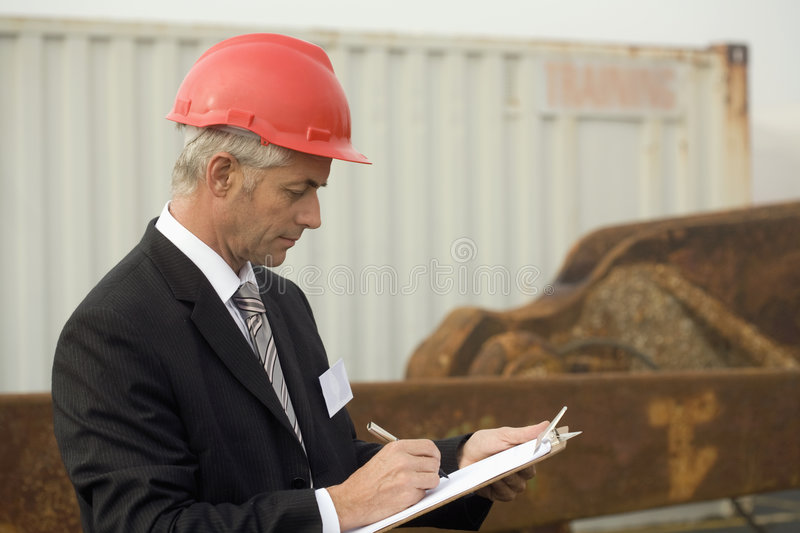 A portrait of a shipping engineer royalty free stock photo