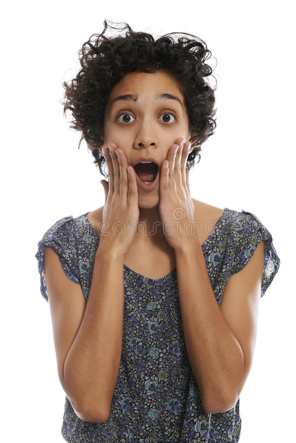 Portrait of shocked hispanic woman with mouth open stock image