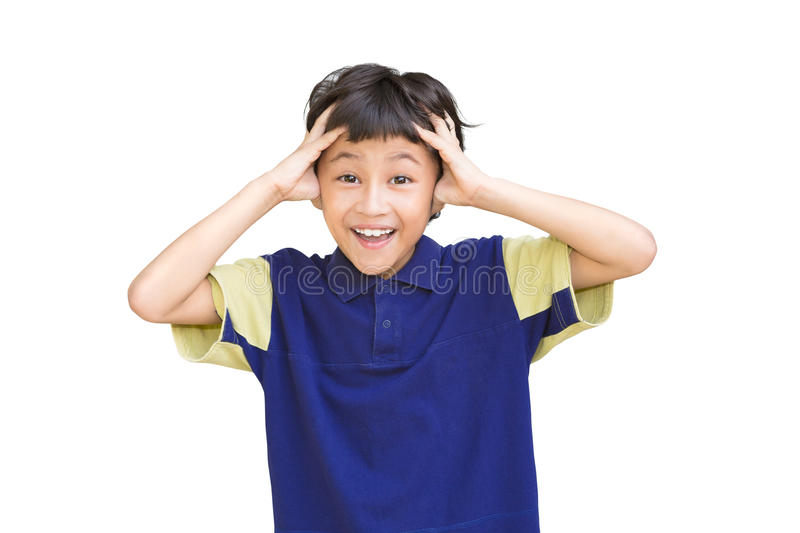 Download Portrait Of Shocked Little Boy With Hands On Head Stock Photo - Image: 26518016