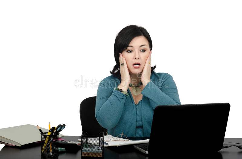 Portrait of shocked mature business woman royalty free stock images