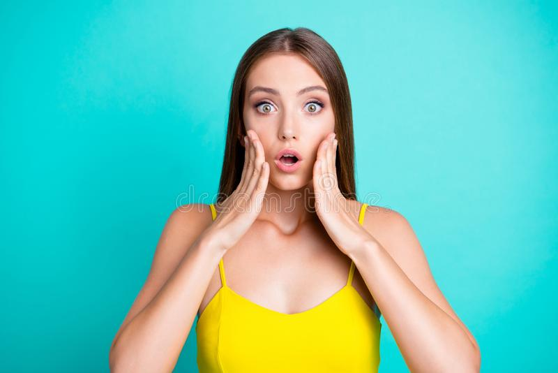 Portrait of shocked nice attractive cute straight-haired girl in royalty free stock photo