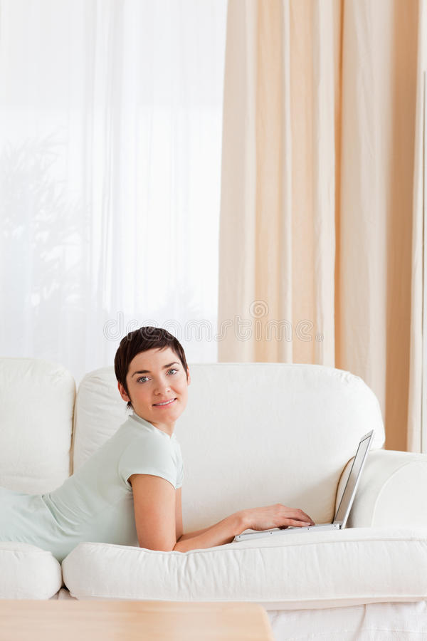 Portrait Of A Short-haired Woman With A Laptop Stock Photography