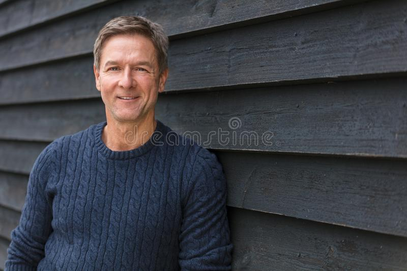 Happy Middle Aged Man Smiling Outside royalty free stock photos