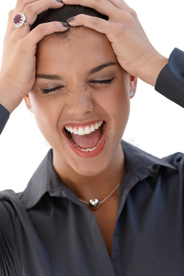 Download Portrait of shouting woman stock image. Image of highschool - 19855763