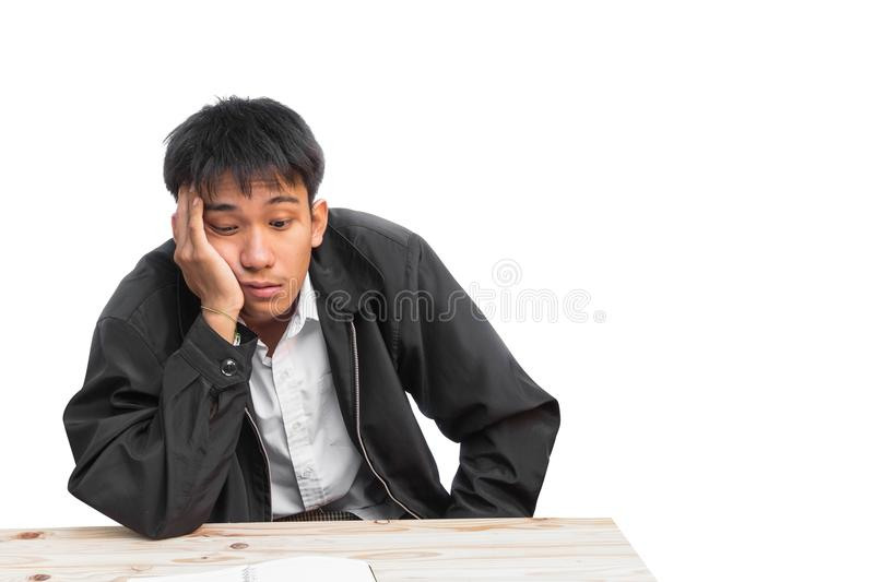 Portrait show Businessman young on white background. Portrait show Businessman. young male Students School Business Headaches are using the idea,on white stock image