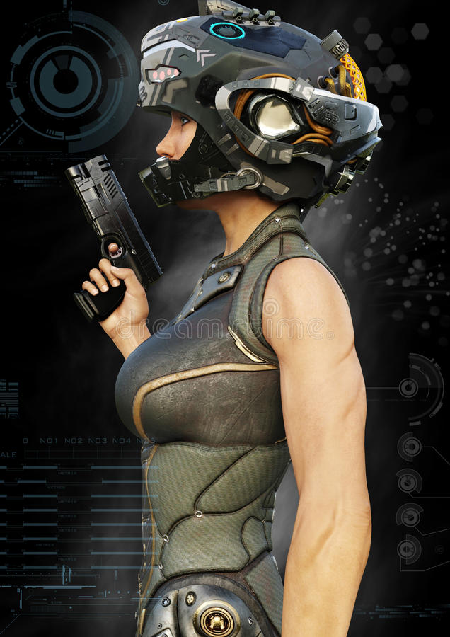 Portrait side view of a futuristic female warrior with digital effect elements. stock illustration