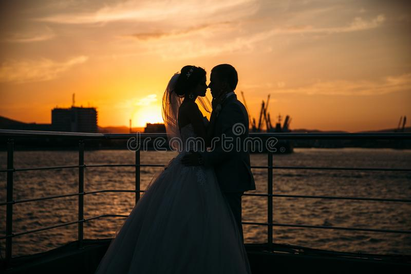 Portrait silhouettes of bride and groom standing on night city background and tenderly looking at each other at sunset. Concept of love and family, newlyweds stock image