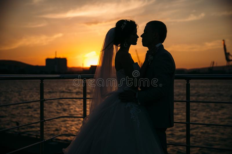 Portrait silhouettes of bride and groom standing on night city background and tenderly looking at each other at sunset. Concept of love and family, newlyweds royalty free stock photos